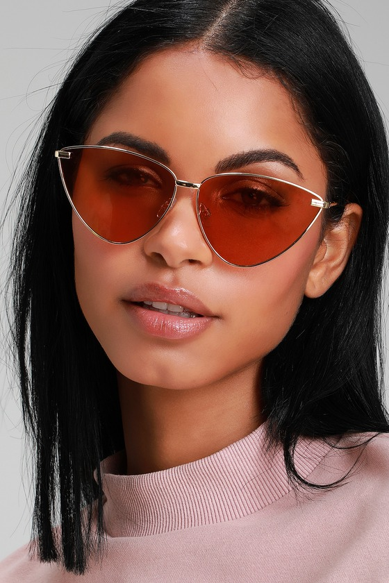 Vibrant Visuals Gold Cat-Eye Sunglasses - Lulus