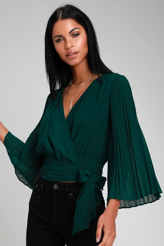 3a90d510d02df Cute Forest Green Top - Wrap Top - Pleated Top - Green Top