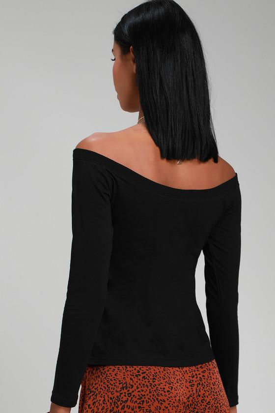 c34dd79cd75 Cute Black Off-the-Shoulder Top - Long Sleeve Top - Black OTS Top