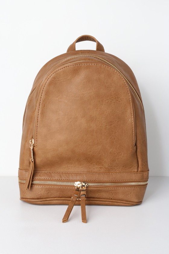bcce692a13 Chic Tan Backpack - Vegan Leather Backpack - Mini Backpack