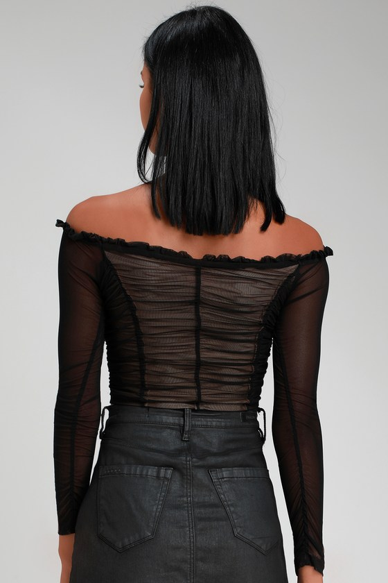 e154621a4b Sexy Black Ruched Crop Top - Off-the-Shoulder Top - Lace-Up Top