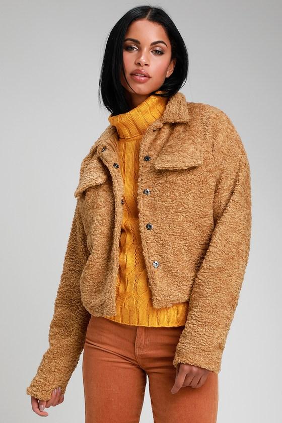 e4efe5a99bf4e Cuddly Light Brown Jacket - Fuzzy Jacket - Faux Fur Jacket