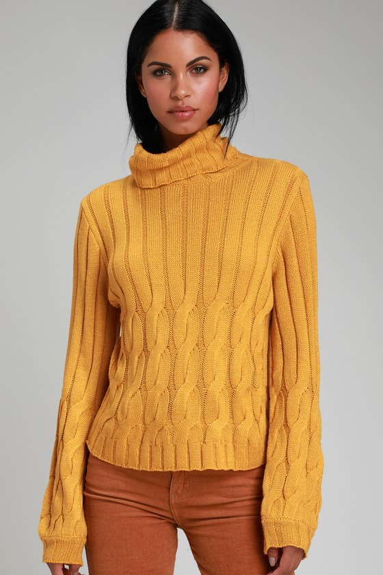 2c148123287 Belfort Mustard Yellow Cable Knit Turtleneck Sweater