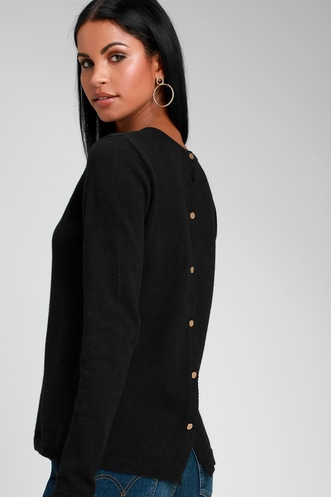 6cb8860871 Staying Together Black Button Back Sweater Top