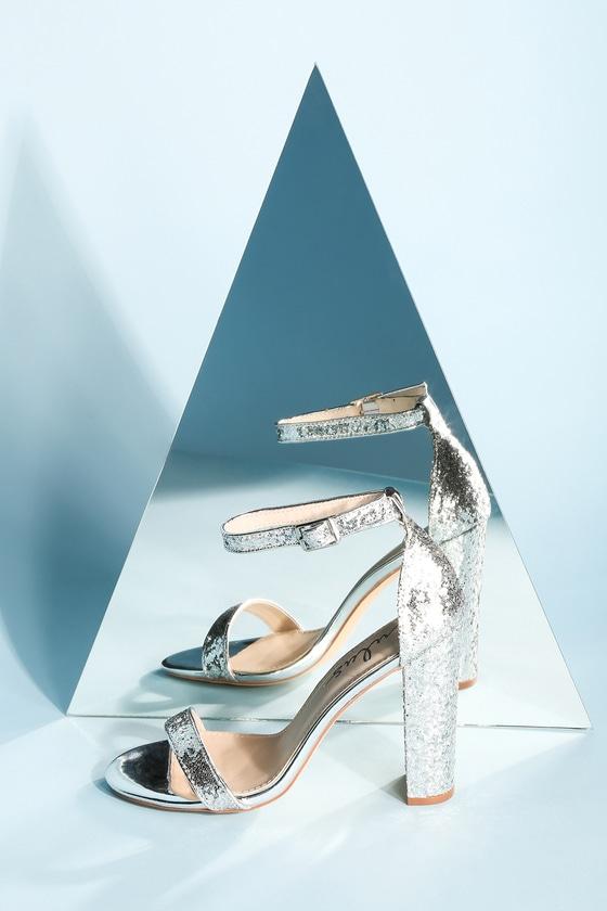 7700fe423f Stunning Glitter Heels - Silver Heels - Ankle Strap Heels