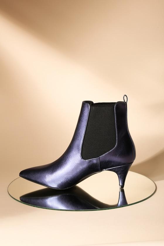 d0c2490112cf Chic Blue Metallic Boots - Kitten Heel Boots - Ankle Boots