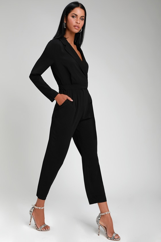 ed5994f312 Chic Collared Jumpsuit - Long Sleeve Jumpsuit - Office Jumpsuit