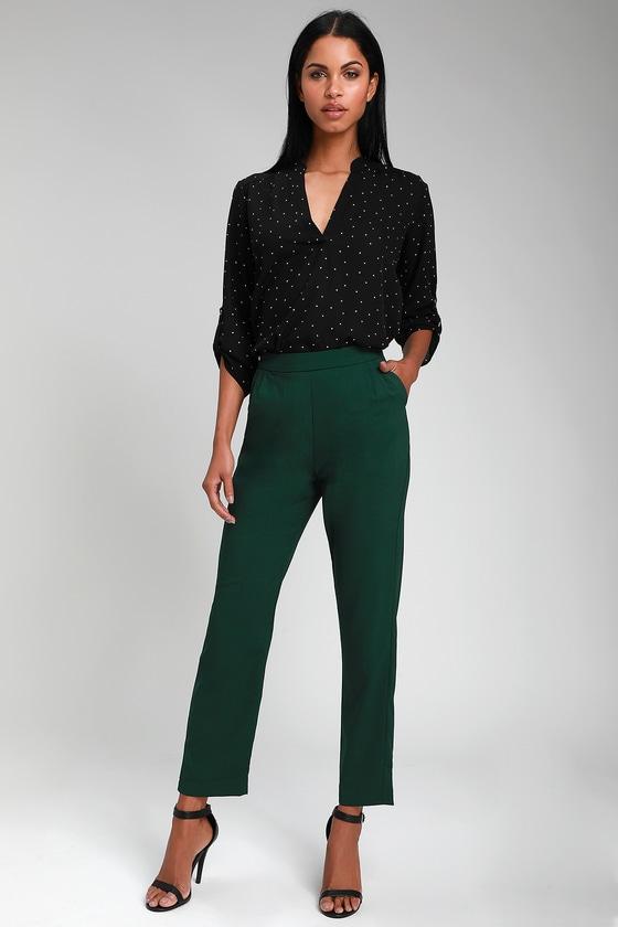 Kick It Forest Green Trouser Pants by Lulus