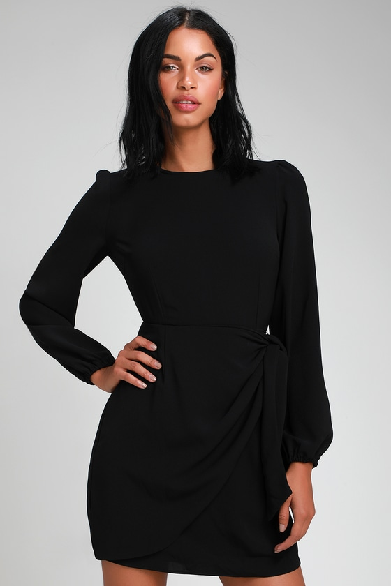 042f4cede38 Believe It or Knot Black Long Sleeve Tie-Front Skater Dress