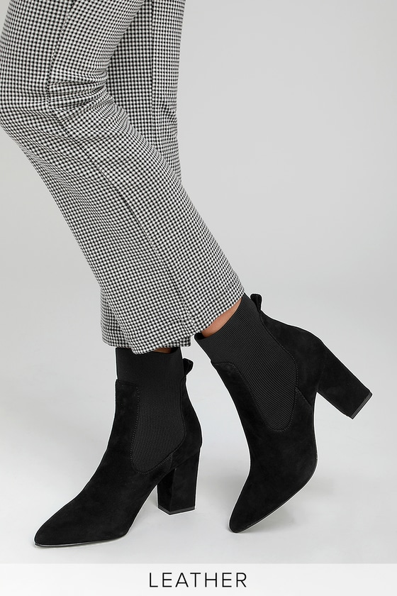 6179dbb978c Steve Madden Richter - Black Suede Booties - Black Sock Booties