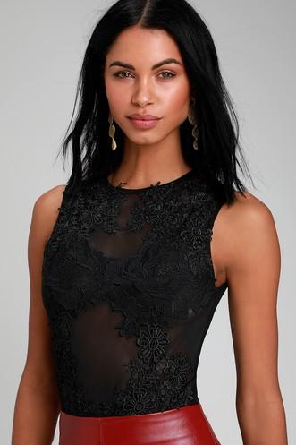 cb6418f5240 My Treat Black Crochet Lace Sheer Mesh Sleeveless Bodysuit