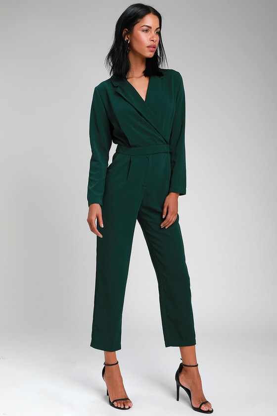 b438915355c2 Chic Green Jumpsuit - Long Sleeve Jumpsuit - Office Jumpsuit