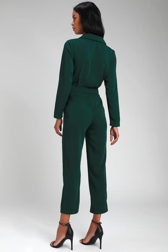 84141d5ffdc6 Chic Green Jumpsuit - Long Sleeve Jumpsuit - Office Jumpsuit