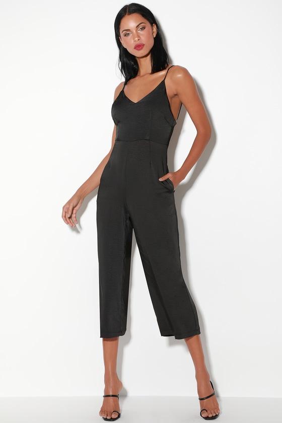 32f215ffb34 Cool Black Jumpsuit - Satin Jumpsuit - Culotte Jumpsuit