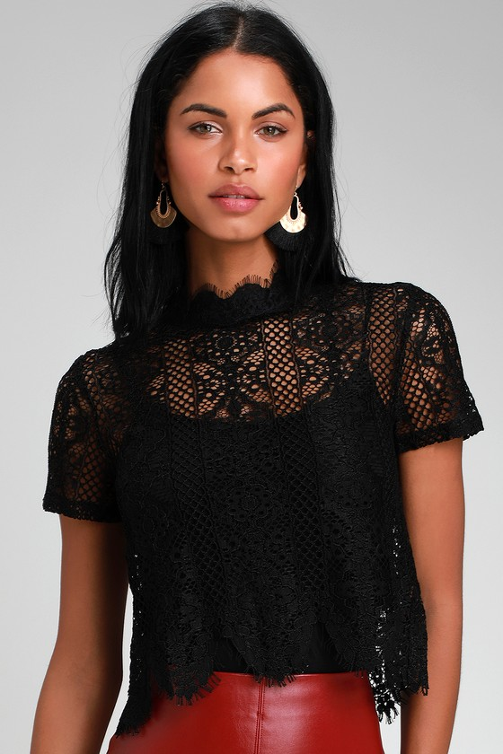 1ad303a78235 Pretty Black Lace Top - Lace Crop Top - Short Sleeve Lace Top