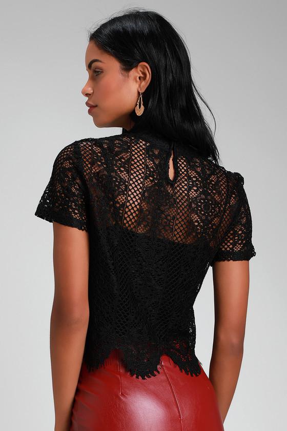 019d509d1b4de1 Pretty Black Lace Top - Lace Crop Top - Short Sleeve Lace Top
