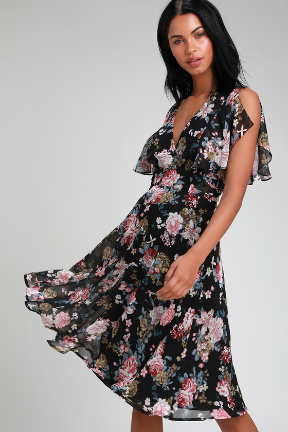 531c1c16f7c4 Lovely Black Floral Print Dress - Midi Dress - Short Sleeve Dress