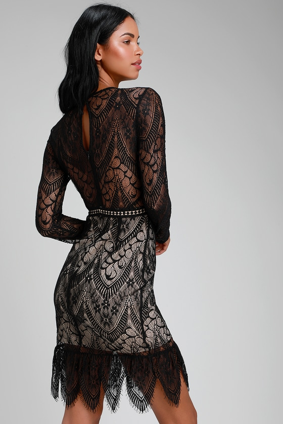 ASTR the Label Chelsi - Black Lace Dress - Black and Nude Dress 9e3ee79a6