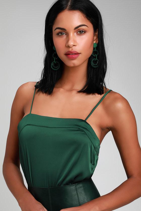 Chic Hunter Green Bodysuit - Green Satin Bodysuit - Sexy Bodysuit 977bbbfea