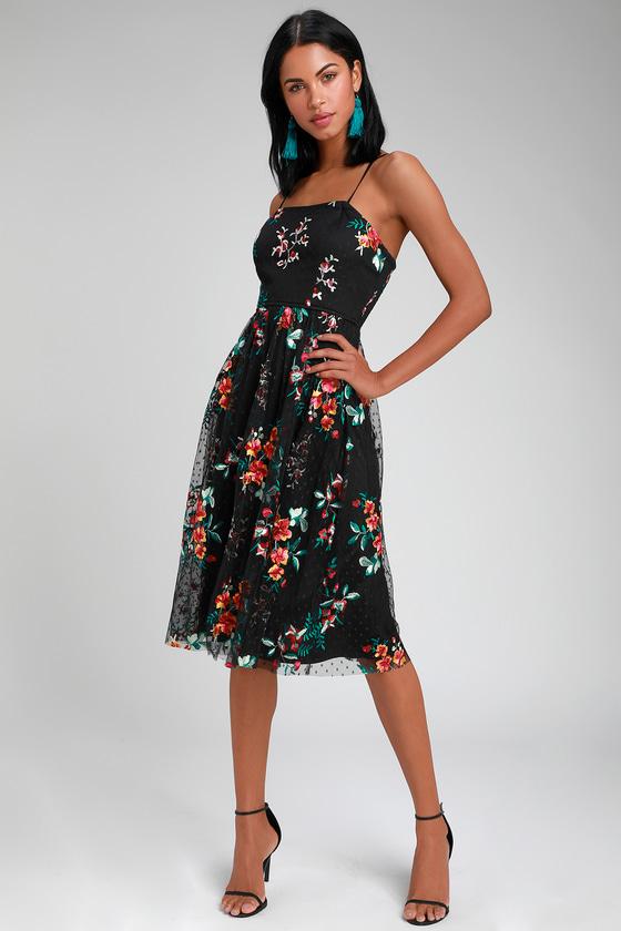 85074605ced Fun Black Midi Dress - Embroidered Black Dress - Floral Dress