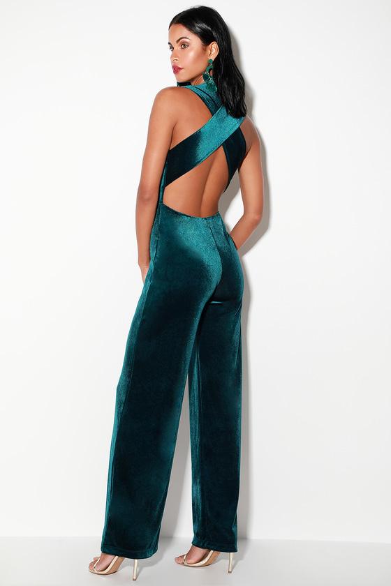 bb6e7e04657 Sexy Dark Teal Jumpsuit - Velvet Jumpsuit - Backless Jumpsuit