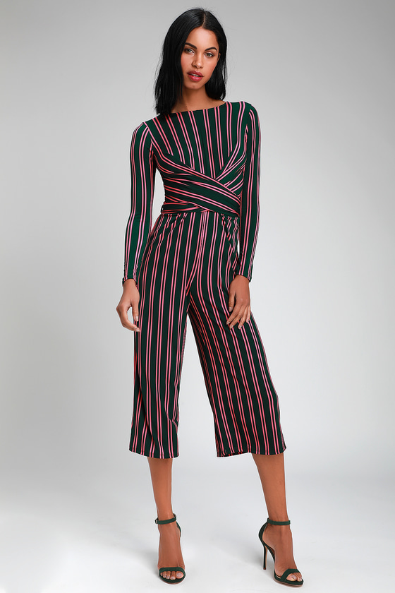 86f7dc748b5d Cute Green Jumpsuit - Striped Jumpsuit - Twist-Front Jumpsuit