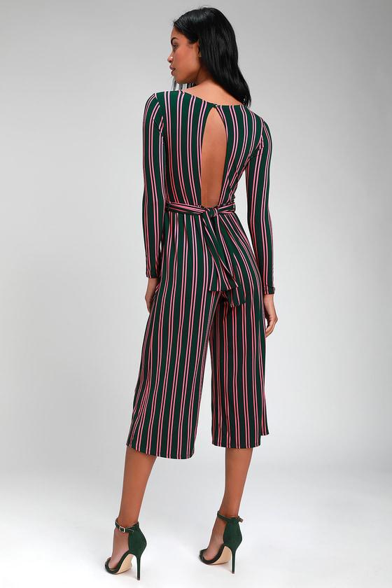 86f7dc748b5d Cute Green Jumpsuit - Striped Jumpsuit - Twist-Front Jumpsuit