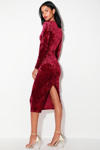 e7302d32b5c Cherish Me Wine Red Velvet Long Sleeve Bodycon Midi Dress