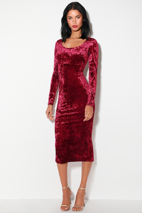 53e3a9fe8c2 Glam Wine Red Dress - Red Velvet Dress - Velvet Midi Dress