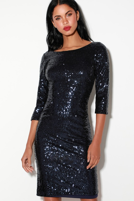 Let's Dance Navy Blue Sequin Bodycon Midi Dress - Lulus