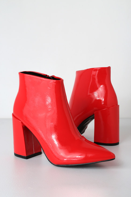 5368ea16279 Cool Red Patent Booties - Red Booties - Red Ankle Booties