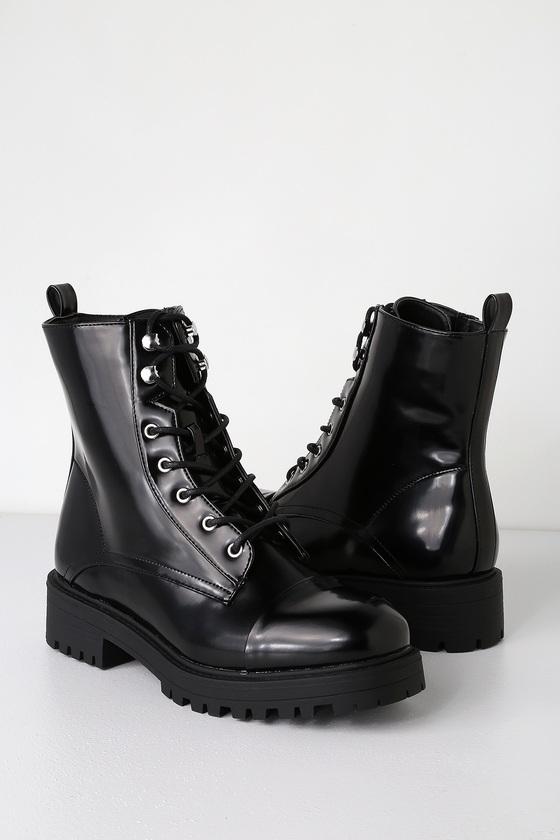 95abbc4fd02 Kody Black Patent Lace-Up Combat Boots