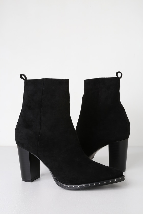 333bc70aa1f Cool Black Ankle Booties - Studded High Heel Booties - Booties