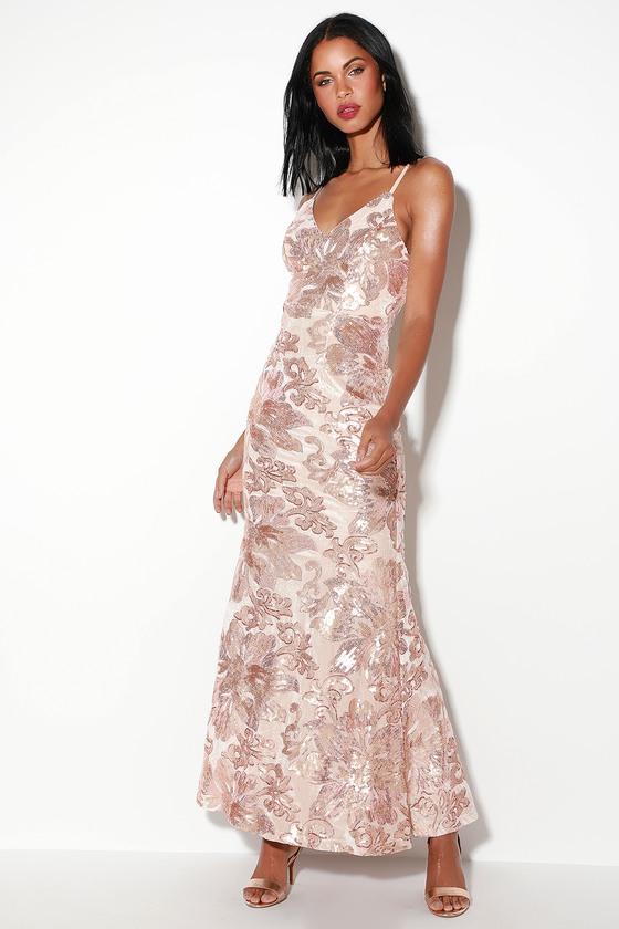 78434746d3dfd Glam Blush Dress - Blush Maxi Dress - Sequin Maxi Dress