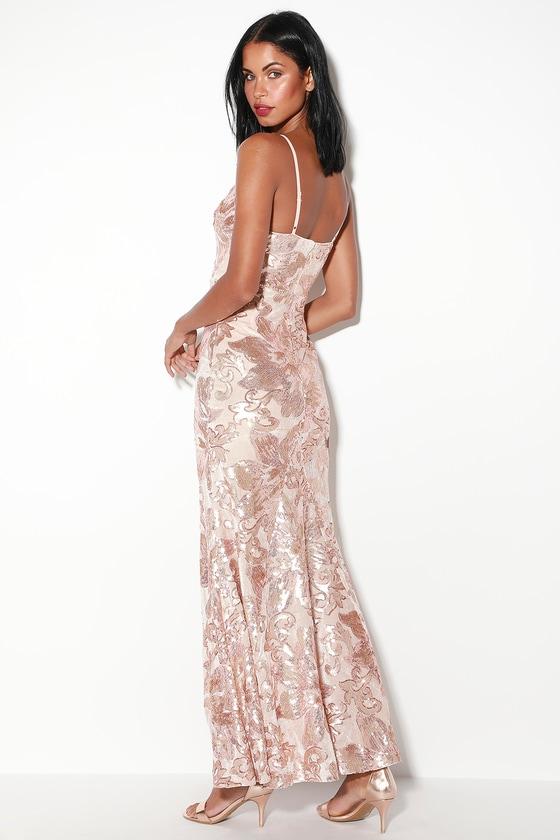 6a206b35cc9 Glam Blush Dress - Blush Maxi Dress - Sequin Maxi Dress