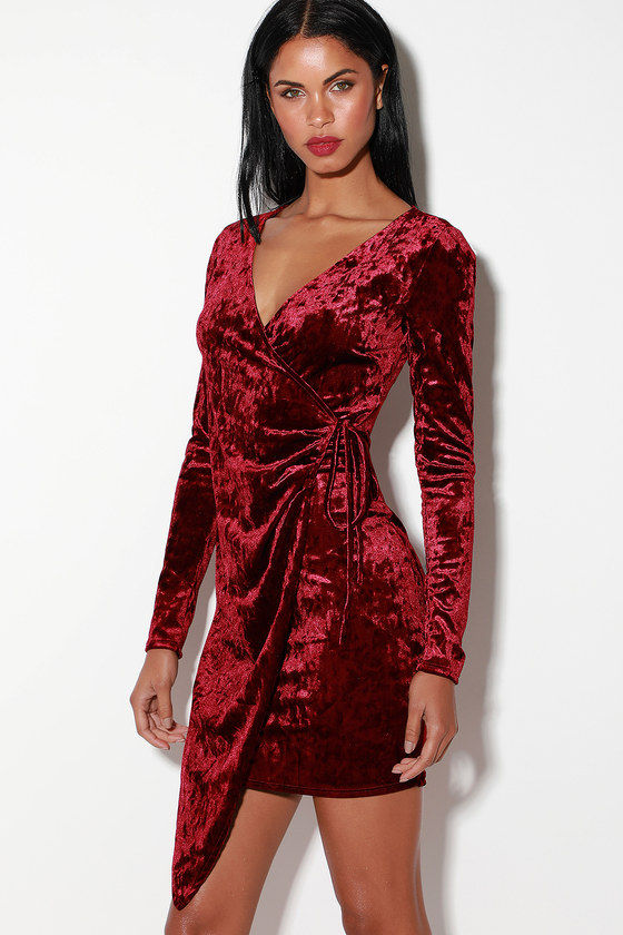 GALIANA BURGUNDY VELVET LONG SLEEVE WRAP DRESS