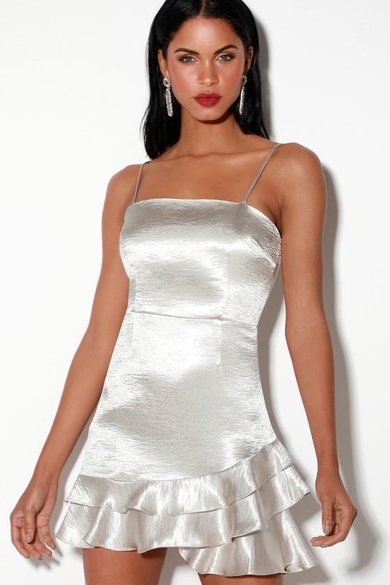 7182edc2d156 BB Dakota Flawless - Silver Mini Dress - Silver Satin Mini Dress