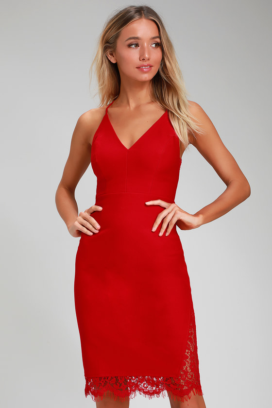 0376d47cd892 Chic Red Bodycon Dress - Red Lace Dress - Red Midi Dress