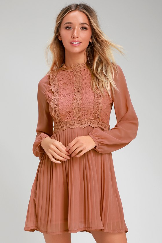 CHARLISA RUSTY ROSE LACE LONG SLEEVE SKATER DRESS