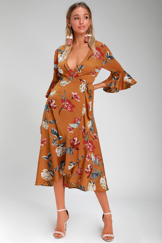 314a078e09b Pretty Mustard Yellow Floral Print Dress - Floral Midi Wrap Dress