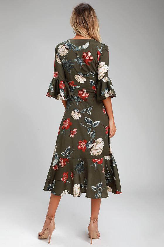 5471edb618d Love and Light Olive Green Floral Print Midi Wrap Dress