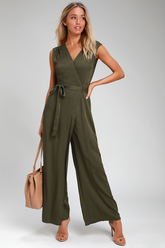 9467b242044e Chic Olive Green Jumpsuit - Wide-Leg Jumpsuit - Wrap Jumpsuit