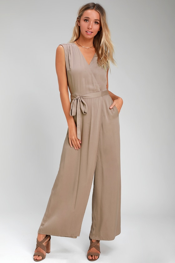 ad1e9dc1114 Chic Taupe Jumpsuit - Wide-Leg Jumpsuit - Wrap Jumpsuit