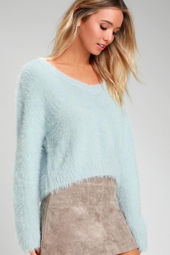 1c9e7fab3 Cozy Light Blue Sweater - Eyelash Knit Sweater - Fuzzy Sweater