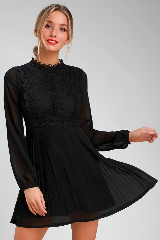 60s Dresses | 1960s Dresses Mod, Mini, Hippie Charlisa Black Lace Long Sleeve Skater Dress - Lulus $68.00 AT vintagedancer.com