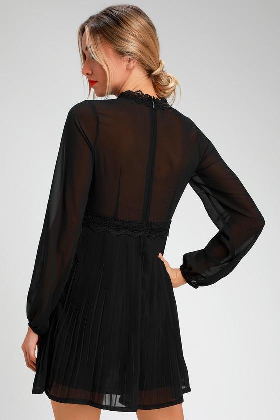 Cute Black Dress Lace Long Sleeve Dress Lace Skater Dress