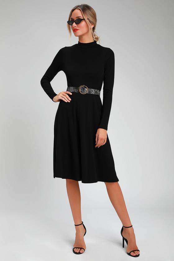 e3eebff25049 Cute Black Dress - Long Sleeve Dress - Black Mock Neck Dress