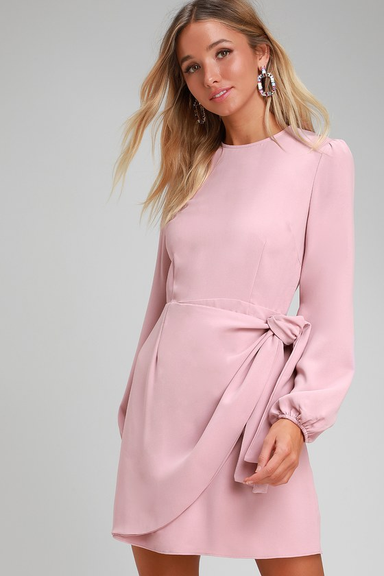 Believe It or Knot Rose Pink Long Sleeve Tie-Front Skater Dress - Lulus