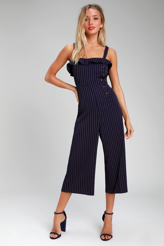 a56c3db1a8b Vintage Overalls 1910s -1950s History   Shop Overalls Chantelle Navy Blue  Striped Culotte Jumpsuit -