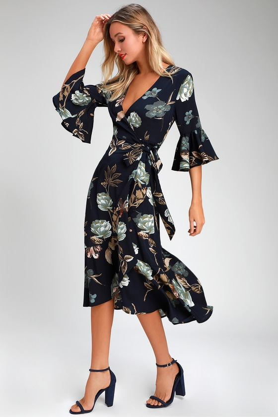 573a92ae5a51d Pretty Navy Blue Floral Print Dress - Floral Midi Wrap Dress